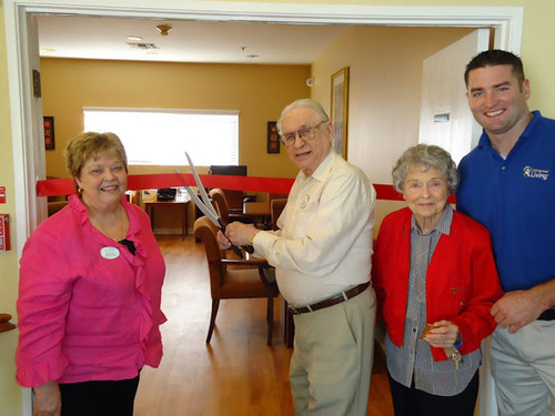 (Left to right) Sharon Bates, executive director of The Gardens of Tarzana, a Brookdale Senior Living community in Tarzana, Ca., and residents Ed Sills and Frances Webb, join Brian Regal, Connected Living ambassador for a ribbon cutting to celebrate the availability of the Connected Living Network at one of 16 Brookdale communities in California.  Connected Living offers a Web-based social platform designed specifically for the senior living industry, bringing together older adults, their families, and community administrators in a secure, ...