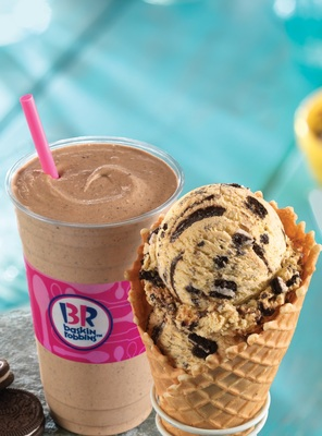 Baskin-Robbins Celebrates National Ice Cream Month With Free Waffle Cone Offer And New OREO 'N Cake Batter Flavor Of The Month (PRNewsFoto/Baskin-Robbins)