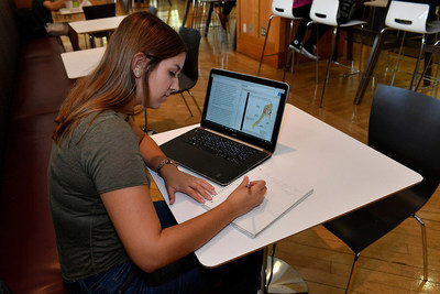 George Washington University junior Erin Green uses Pearson immersive learning products for coursework on the university's campus on Friday, October 21, 2016. Pearson recently announced a partnership with IBM to make Watson's cognitive capabilities available to millions of college students and professors.