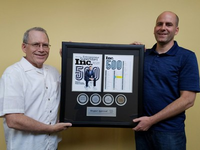 Co-founders Scott and Dave with their Inc. 500 award