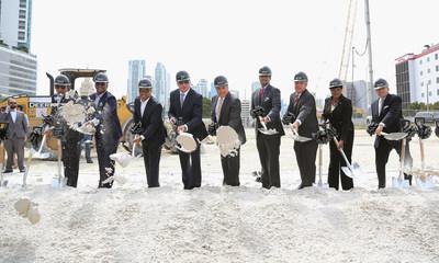 Miami-Dade Mayor Carlos Gimenez, Commissioners and Miami Worldcenter Developers Daniel Kodsi, Nitin Motwani and Art Falcone Break Ground on America's Second-Largest Urban Development Featuring 700-foot, 60-story, $500 Million Dollar Signature Luxury Residential Skyscraper, Paramount Miami Worldcenter.