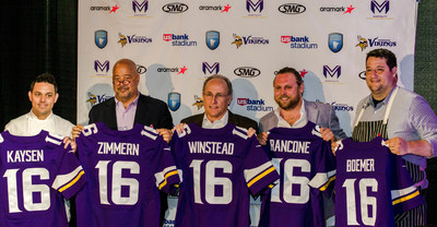 The Minnesota Sports Facilities Authority (MSFA), Minnesota Vikings, SMG and Aramark, the exclusive hospitality partner and dining services provider for U.S. Bank Stadium, today unveiled an extraordinary partnership with Minnesota's top culinarians and restaurateurs to bring their talent and expertise to U.S. Bank Stadium. From left to right: Gavin Kaysen, Andrew Zimmern, Gene Winstead, Nick Rancone and Thomas Boemer.