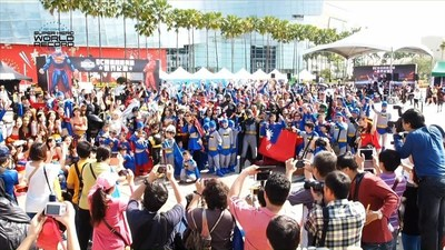 Fans dressed as DC Comics Super Heroes gather to set the Guinness World Record for most people dressed as DC Comics Super Heroes within a 24-hour period at the DC Comics Super Hero World Record Event on April 18, 2015 in Kaohsiung, Taiwan.