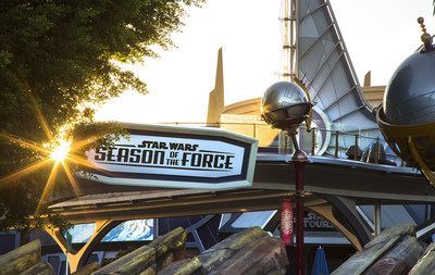 STAR WARS SEASON OF THE FORCE AT DISNEYLAND PARK -- As the Force awakens at the Disneyland Resort, Star Wars Season of the Force brings exciting new experiences to Disneyland Park to celebrate all things Star Wars. Season of the Force entertains fans of the famous film saga and guests looking forward to the future Star Wars-themed land. Among the elements entering this galaxy are Star Wars Launch Bay, an interactive space, and the reimagined attraction, Hyperspace Mountain.  (Disneyland)