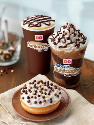 Dunkin' Donuts Celebrates The Dunkaccino With Frozen Dunkaccino Fudgaccino, Hot Dunkaccino And Mocha Crunch Donut. (PRNewsFoto/Dunkin' Donuts)