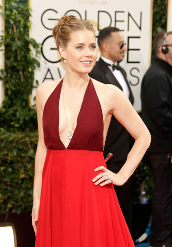 Amy Adams wearing Lorraine Schwartz yellow gold, diamond and ruby jewelry at the 2014 Golden Globes. ...