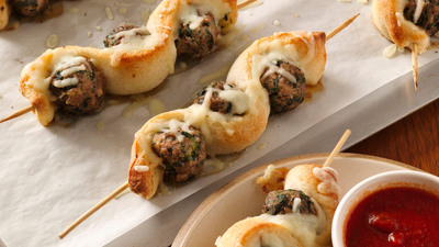 Meatball and Breadstick Sub Skewers, an original recipe Kim Van Dunk of Caldwell, N.J., will compete for $1 million in the 46th Pillsbury Bake-Off(R) Contest in Las Vegas this November. Credit: Pillsbury.com.  (PRNewsFoto/Pillsbury)