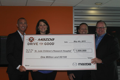As part of its Mazda Drive For Good initiative, Mazda donates $1,000,000 to St. Jude Children's Research Hospital. Left to right: Chris Hill, Manager of Marketing Communications, MNAO, Jeri Shipman, Senior Liaison Corporate Acquisition & Development, St. Jude Children's Research Hospital, Brian Boucher, Sr. vice president new market development, St. Jude Children's Research Hospital, Jim O'Sullivan, president and CEO, MNAO.
