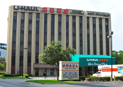 U-Haul storage facilities in and around Houston are offering 30 days free self-storage and U-Box container usage to people affected by the severe flooding in Texas. Pictured here is U-Haul Moving & Storage of Greenspoint Mall at 11911 North Freeway in Houston.