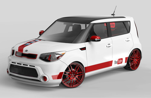 As a literal extension of the YouTube Music Awards partnership, Kia has transformed a 2014 Soul urban passenger vehicle into a mobile video recording booth and multi-screen YouTube player.  (PRNewsFoto/Kia Motors America)