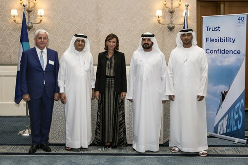 From left to right: Mr. Takis Athanasopoulos Vice President Neptune Lines, H.E. Jamal Majid Bin Thaniah, Vice ...
