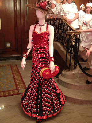 A dress made of Jelly Belly jelly beans and other confections created by students in Chicago's After School Matters culinary arts program greets attendees at the For the Love of Chocolate Foundation gala to benefit students at the French Pastry School of Kennedy-King College at City Colleges of Chicago.
