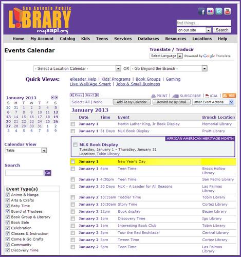 San Antonio Public Library event calendar.  (PRNewsFoto/Trumba Corporation)