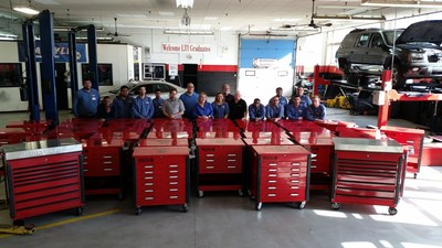 Students in Lincoln Tech's Automotive Technology Program at the Philadelphia, PA campus proudly display the school's new Matco tool boxes.