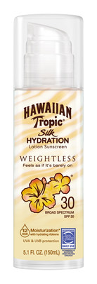 Hawaiian Tropic Silk Hydration Weightless Lotion Sunscreen available in SPF 15 and 30
