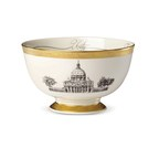 Lenox Corporation hand-crafted this one-of-a-kind china bowl for Pope Francis during his historic U.S. Visit.  This bowl is made in the USA of Lenox ivory bone china with a distinctive opulent etched 24-karat gold border. This exquisite gift for Pope Francis was created with the same level of attention to detail and quality materials used to make gifts for U.S. presidents, governors and dignitaries during Lenox's distinguished 125-year history.
