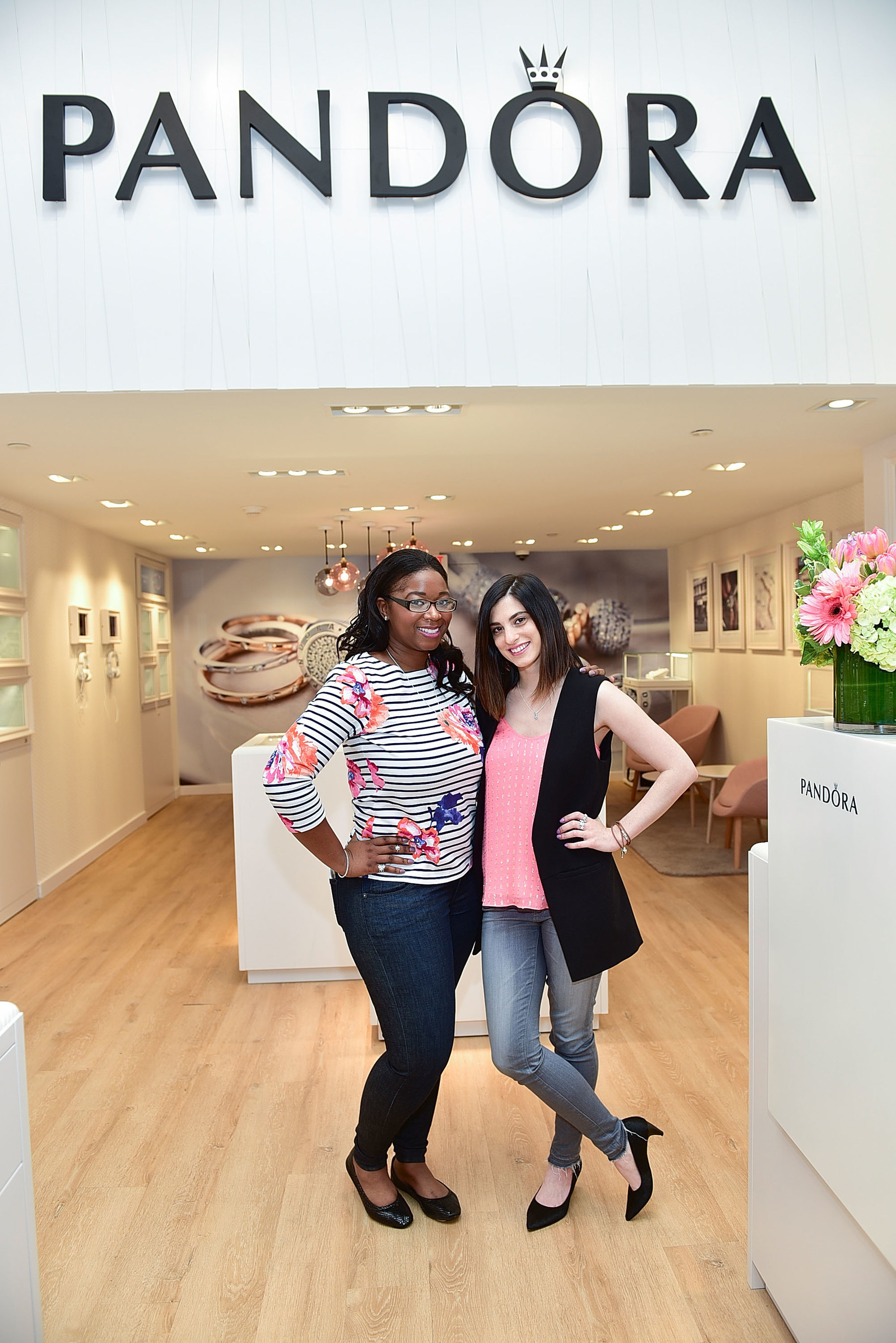 Brittiny Stewart of Fashion of Philly and Jessie Holeva of Trend Hungry attend PANDORA Jewelry grand opening celebration