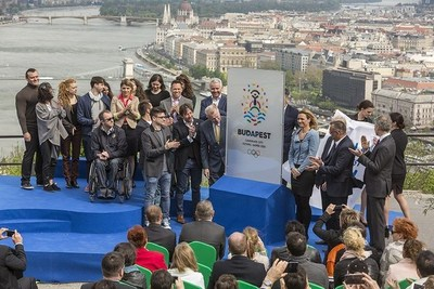 Unveiling the Budapest 2024 bid logo (PRNewsFoto/Budapest 2024)