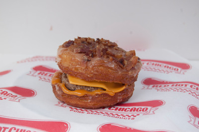 Chicago's Devil Dawgs will debut its new Demon's Delight sandwich, a maple-glazed, bacon-covered crognet filled with a steak burger, American cheese and Devil Sauce on Sept. 10, 2013. (PRNewsFoto/Devil Dawgs)