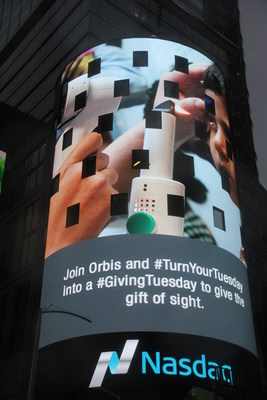 Blackbaud is takes over the Nasdaq tower at Times Square to promote what its customers are doing for #GivingTuesday. Help Orbis give the gift of sight this #GivingTuesday