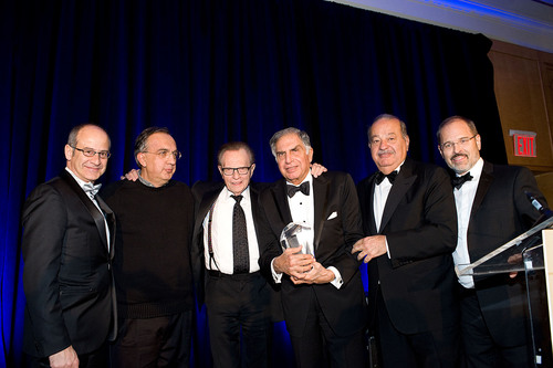 Ahmet Bozer, President, Coca-Cola International & BCIU Chairman; 2011 Eisenhower Award Recipient Sergio Marchionne; Host of the Evening Larry King; 2013 Eisenhower Award Honoree Ratan Tata, 2012 Eisenhower Award Recipient Carlos Slim; and Peter Tichansky, BCIU President. (PRNewsFoto/Business Council for International Understanding) (PRNewsFoto/BUSINESS COUNCIL FOR ...)