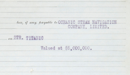 Detail of the Ledger Page of the Insurance Policy on the Titanic, Issued by the Atlantic Mutual Insurance ...