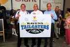 Today the Baltimore Ravens named Giant Food of Landover, Md. as the official supermarket partner and the two organizations kicked off a season-long giving campaign, benefiting the Maryland Food Bank. From left to right: Rob Harman,  Regional Vice President, Giant Food of Landover, Md.;  John May, Chief Operations Officer, Maryland Food Bank; and Dick Cass, President, Baltimore Ravens.  (PRNewsFoto/Landover, MD -- Giant Food LLC)