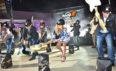 Audrina Patridge and Hard Rock Welcomed the newly unveiled Hard Rock Hotel Palm Springs with the signature Guitar Smash that inaugurates each and every Hard Rock Hotel.  (PRNewsFoto/Hard Rock International)