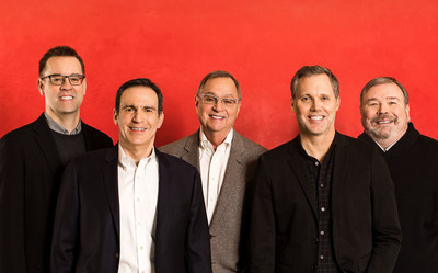 Senior leaders from AbelsonTaylor (L to R): Keith Stenlund, VP, CFO; Jeff Berg, SVP, Director of Client Services; Dale Taylor, President & CEO; Stephen Neale, SVP, Executive Creative Director; Jay Carter, SVP, Director of Strategy Services