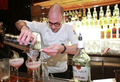 "Milos Zica, winner of New York USBG Legacy Cocktail Showcase sponsored by BACARDI straining his innovative cocktail, ""Star Superior"". (PRNewsFoto/BACARDI) (PRNewsFoto/BACARDI)"