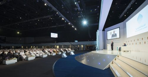 Klaus Schwab - WEF - addresses third annual Government Summit 2015 - audience - UAE (PRNewsFoto/The Government ...