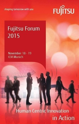 "Fujitsu Forum 2015, the company's largest annual event in Europe, will be held November 18-19 at the International Congress Center Munich in Germany. The theme of this year's Fujitsu Forum will be ""Human Centric Innovation in Action"" (PRNewsFoto/Fujitsu)"