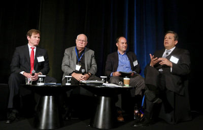 (Left to Right) Jim Tortorelli, John Husing, Matthew Kahn and Miguel Santana participate in a discussion on job availability at the UCLA Anderson Forecast event on April 2, 2014.   (PRNewsFoto/UCLA Anderson School of Management)