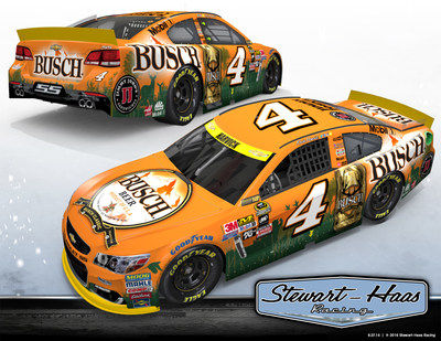 Busch beer is planning a race day takeover on October 8 at Charlotte Motor Speedway to celebrate the launch of its racing platform. On the track, race-goers can expect to see Kevin Harvick's No. 4 Chevrolet SS schemed to mimic the Busch hunting cans - featuring classic Busch logos, along with blaze orange throughout and green silhouettes of deer, elk, pheasant and ducks in a wilderness setting.
