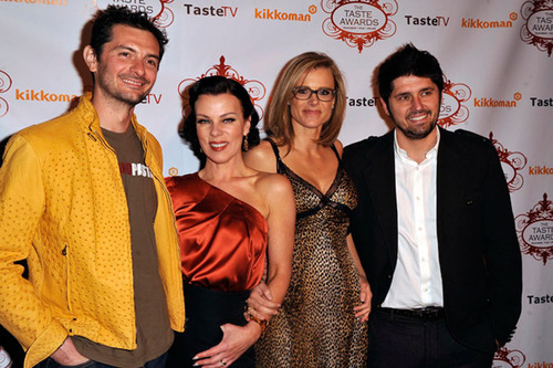 "Gabriele Corcos and Debi Mazar of the Cooking Channel's ""Extra Virgin,"" and Krissy Lefebvre and Ludo Lefebvre of the Sundance Channel's ""Ludo Bites America"".  (PRNewsFoto/TasteTV)"