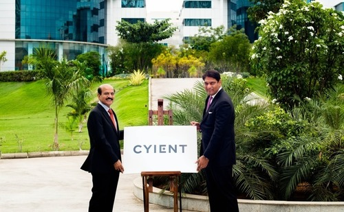 Mohan Reddy, executive chairman and founder, and Krishna Bodanapu, managing director and CEO, unveil new Cyient logo. (PRNewsFoto/Cyient Limited)