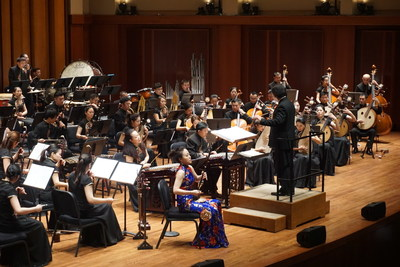 Erhu master Ms. Cao Yurong from Guangdong National Orchestra of China plays in Benaroya Hall, Seattle, September 12