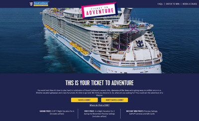 "Royal Caribbean kicks-off ""Ticket to Adventure,"" a multi-faceted consumer promotion to celebrate the debut of the world's largest and newest cruise ship, Harmony of the Seas. Now through November 5 consumers can enter for their chance to win $300,000 worth of prizes, including a grand prize, seven-night Caribbean cruise for four."
