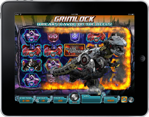 Bonus round in Transformers game on iPad. (PRNewsFoto/International Game Technology)