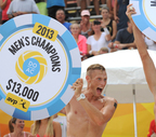 DO AC Pro Beach Volleyball Invitational champion Casey Patterson reacts enthusiastically after defeating Olympian opponents Sean Rosenthal and Phil Dalhausser; with partner Jake Gibb in Atlantic City, NJ. (Peter Tobia/Atlantic City Alliance).  (PRNewsFoto/Atlantic City Alliance)