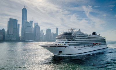 Viking Star, the first 930-passenger ocean ship from Viking Cruises, sails past One World Trade Center in lower Manhattan on Thursday, Oct. 13, 2016 as it calls on New York for the first time. Currently sailing its inaugural North American itinerary, Viking Star will continue onto the Caribbean where it will cruise this winter. For more information, visit www.vikingoceancruises.com.