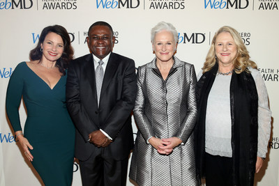 Fran Drescher, WebMD Health Hero Scientist Award Winner Dr. Bennet I. Omalu, WebMD Health Hero People's Choice Award Winner Glenn Close, and Jessie Close Attend the WebMD Health Hero Awards Gala at TimesCenter on November 5, 2015