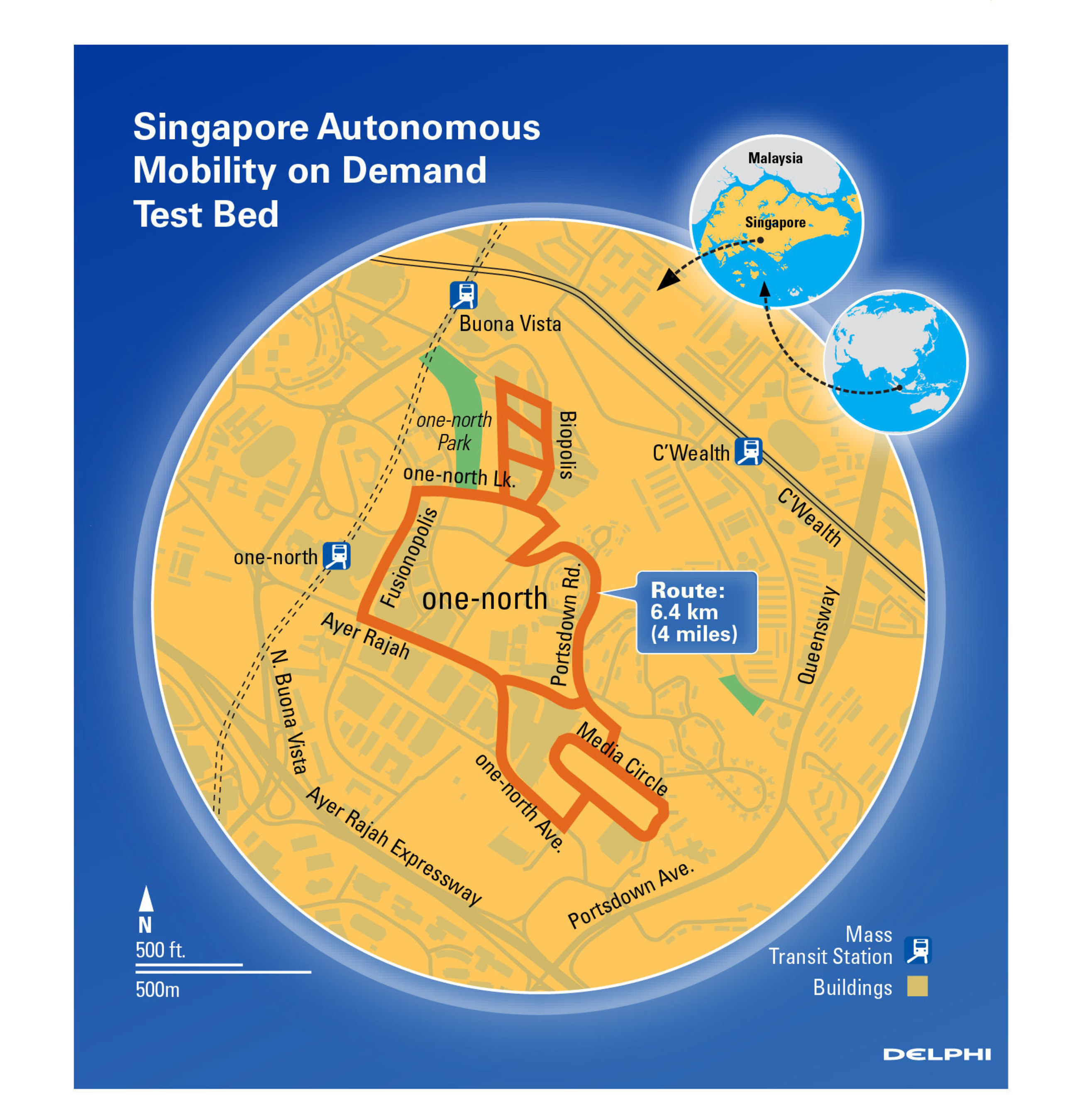 Map of Autonomous Mobility on Demand test route to be used by Delphi's automated driving vehicle.