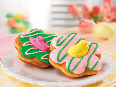 Dunkin' Donuts celebrates spring and PEEPSONALITY(R) with its first-ever donuts topped with PEEPS(R) Marshmallow Chicks