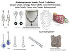 Academy Awards Jewelry Trend Predictions: Longer Linear Earrings, Return of the Statement Necklace, Bold Colorful Gems, and Classics Reinterpreted.  (PRNewsFoto/StyleLab)