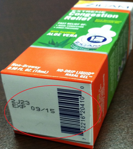 Zicam(R) Extreme Congestion Relief Lot 2J23 Expiration 09/15.  (PRNewsFoto/Matrixx Initiatives)