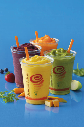 Jamba Juice Fruit & Veggie Smoothies, now available in four flavors: *New* Tropical Harvest, Apple 'n Greens, Berry UpBEET, Orange Carrot Karma.  (PRNewsFoto/Jamba Juice Company)