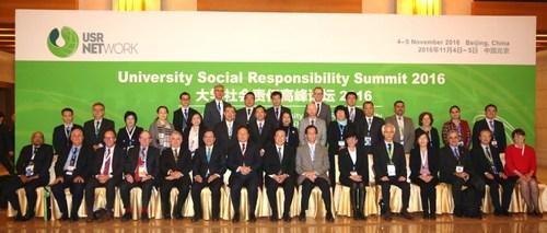 Higher education leaders gather at the University Social Responsibility Summit 2016. (PRNewsFoto/PolyU)
