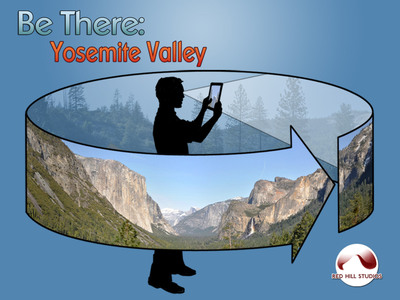 The Be There: Yosemite app lets you explore this famous valley as if you were actually standing beneath the towering cliffs. With Panopticon technology that reads the gyroscopes on your iPad or iPhone, your movements control the view. Download the app today at the App Store.  (PRNewsFoto/Red Hill Studios)