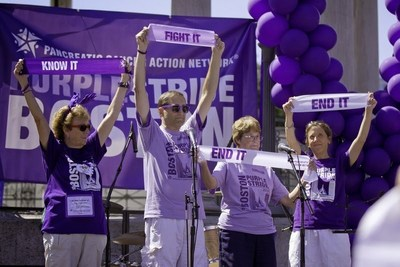PurpleStride Boston participants and pancreatic cancer survivors during the 2014 opening ceremonies in Boston Common.